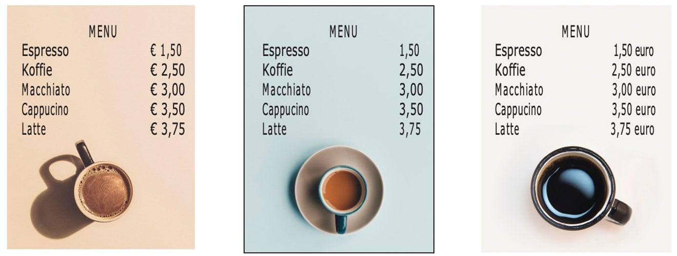 NeuroPricing Learning 1 - Hoe verlaag je de prijsperceptie zonder de prijs aan te passen - Menukaart koffie